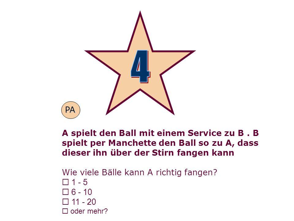 4PA. A spielt den Ball mit einem Service zu B . B spielt per Manchette den Ball so zu A, dass dieser ihn über der Stirn fangen kann.