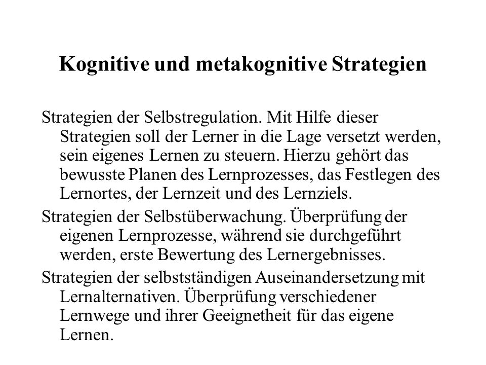 Kognitive und metakognitive Strategien
