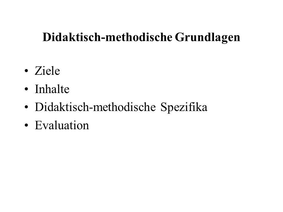 Didaktisch-methodische Grundlagen