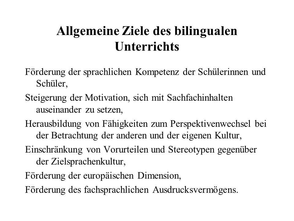 Allgemeine Ziele des bilingualen Unterrichts