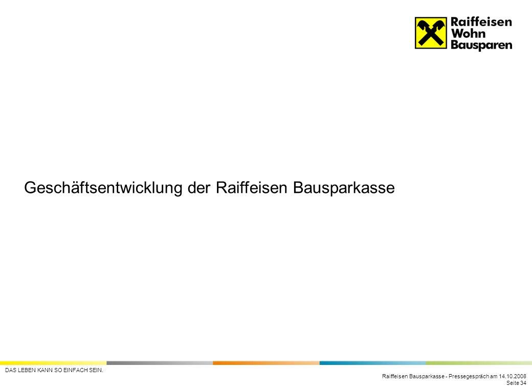 Geschäftsentwicklung der Raiffeisen Bausparkasse