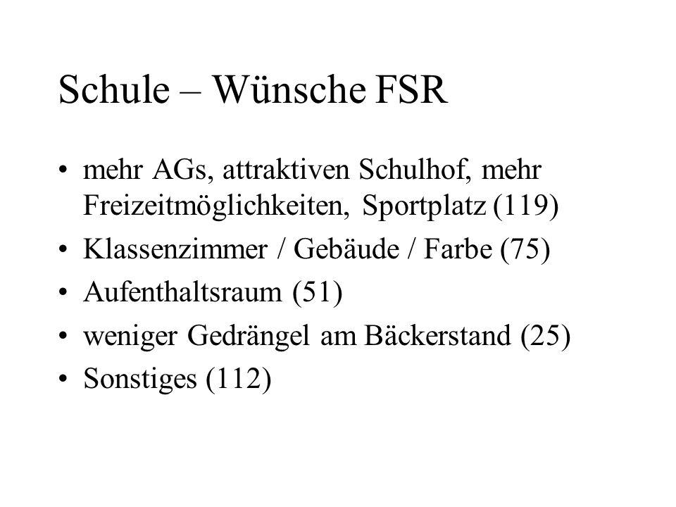 Schule – Wünsche FSR mehr AGs, attraktiven Schulhof, mehr Freizeitmöglichkeiten, Sportplatz (119) Klassenzimmer / Gebäude / Farbe (75)