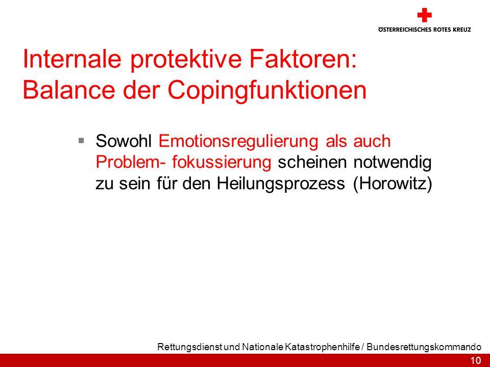 Internale protektive Faktoren: Balance der Copingfunktionen