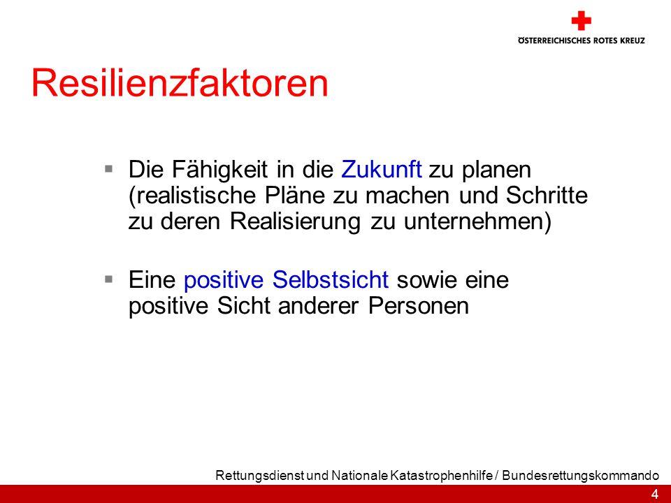 Resilienzfaktoren Die Fähigkeit in die Zukunft zu planen (realistische Pläne zu machen und Schritte zu deren Realisierung zu unternehmen)