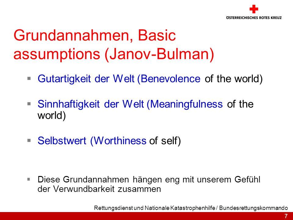 Grundannahmen, Basic assumptions (Janov-Bulman)
