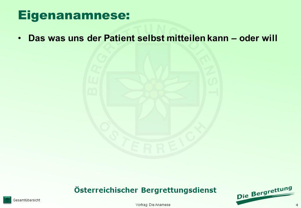 Eigenanamnese: Das was uns der Patient selbst mitteilen kann – oder will Vortrag: Die Anamese