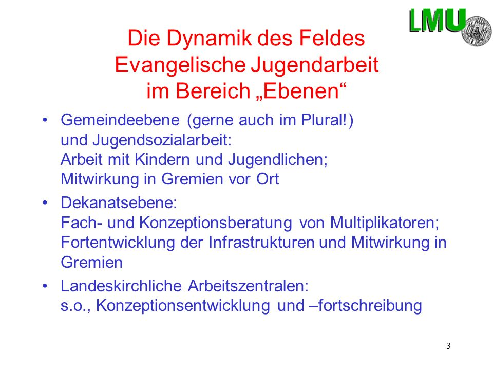 """Die Dynamik des Feldes Evangelische Jugendarbeit im Bereich """"Ebenen"""