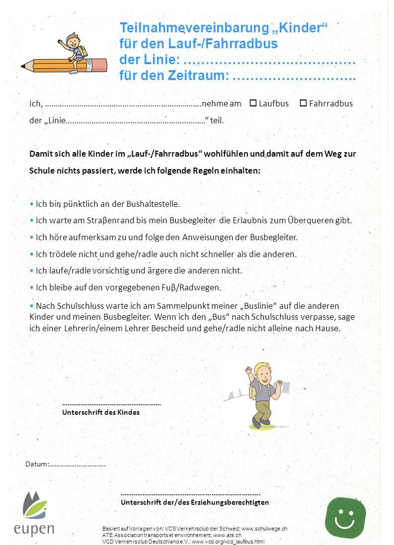"""Teilnahmevereinbarung """"Kinder für den Lauf-/Fahrradbus"""