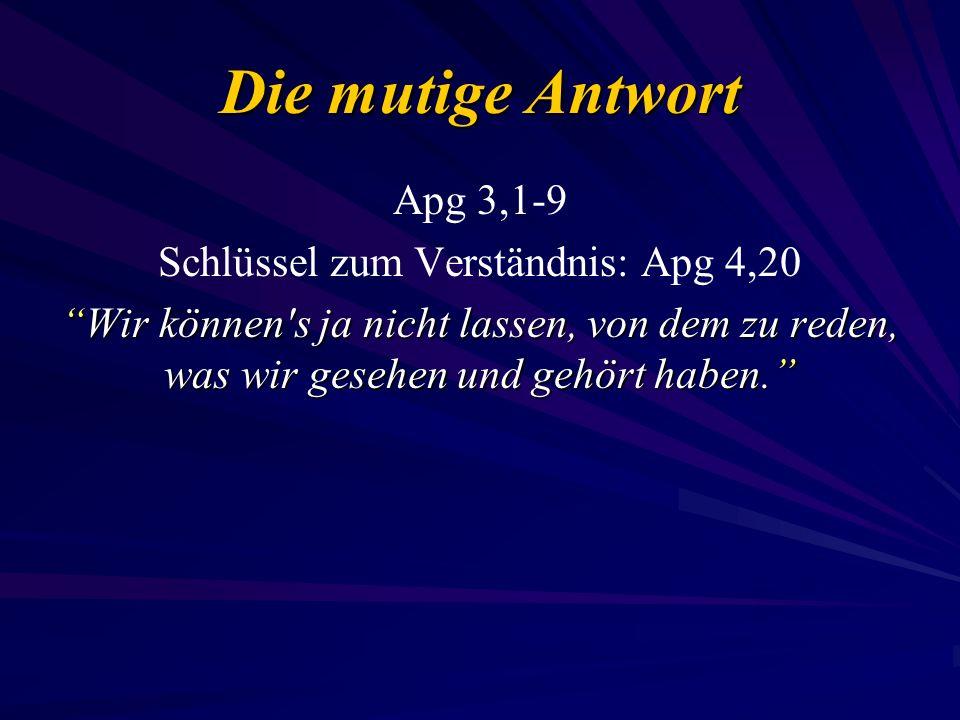 Schlüssel zum Verständnis: Apg 4,20