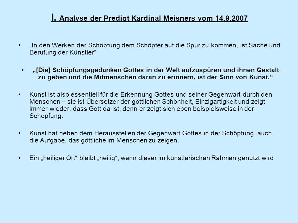 I. Analyse der Predigt Kardinal Meisners vom 14.9.2007