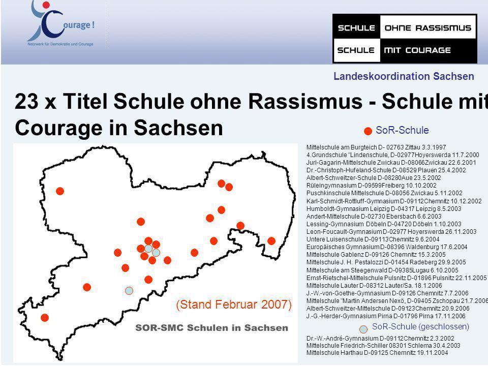 23 x Titel Schule ohne Rassismus - Schule mit Courage in Sachsen