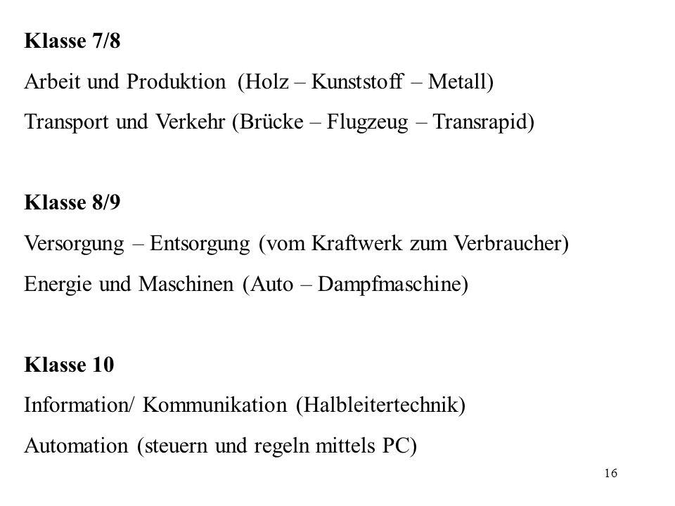 Klasse 7/8 Arbeit und Produktion (Holz – Kunststoff – Metall) Transport und Verkehr (Brücke – Flugzeug – Transrapid)