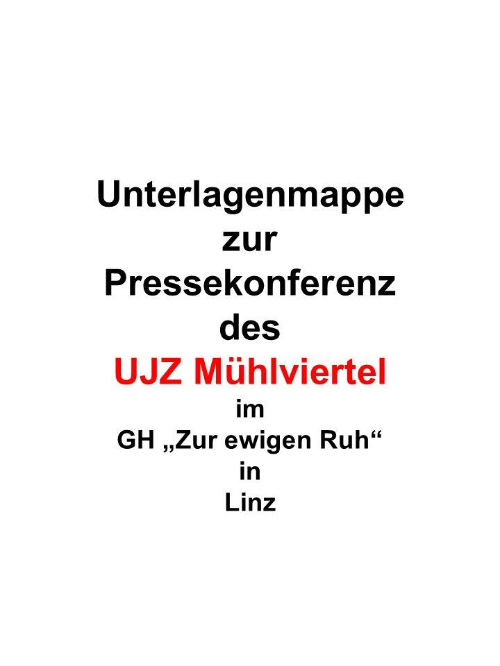 """Unterlagenmappe zur Pressekonferenz des UJZ Mühlviertel im GH """"Zur ewigen Ruh in Linz"""