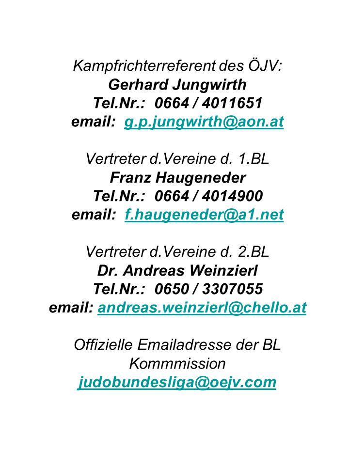 Kampfrichterreferent des ÖJV: Gerhard Jungwirth Tel. Nr