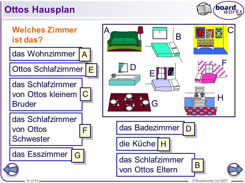 Ottos Hausplan Welches Zimmer ist das das Wohnzimmer A
