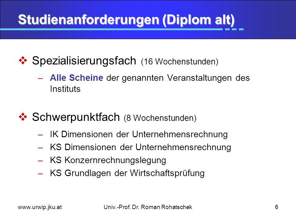Studienanforderungen (Diplom alt)