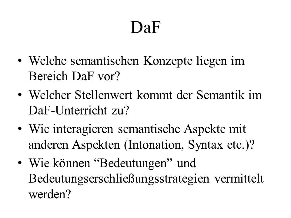 DaF Welche semantischen Konzepte liegen im Bereich DaF vor