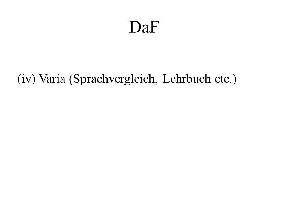 DaF (iv) Varia (Sprachvergleich, Lehrbuch etc.)