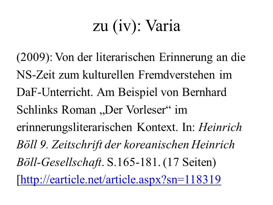 zu (iv): Varia