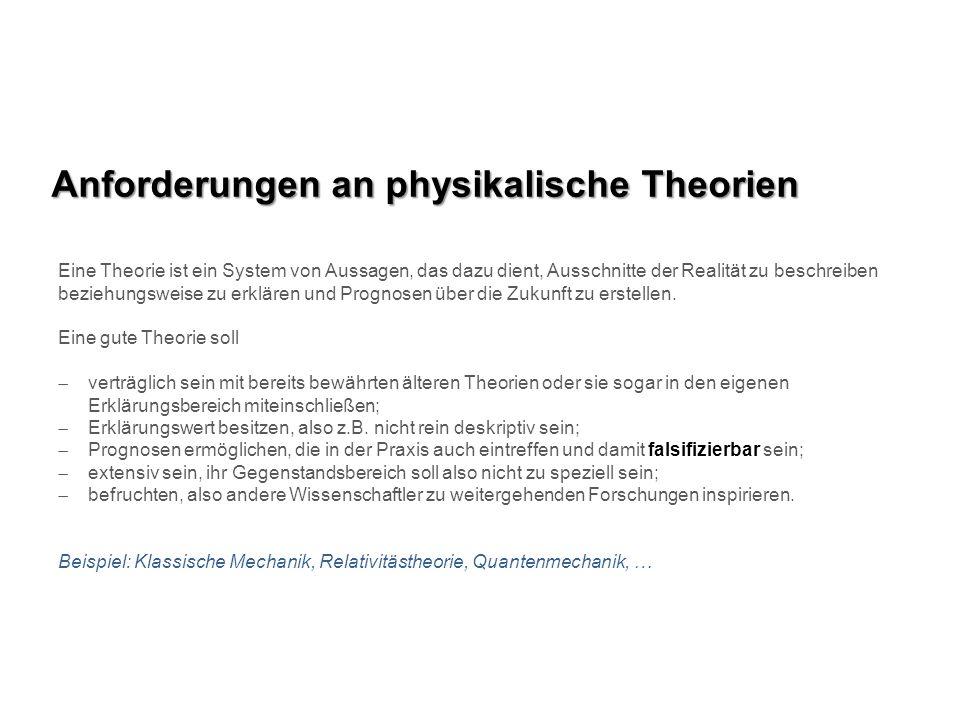 Anforderungen an physikalische Theorien