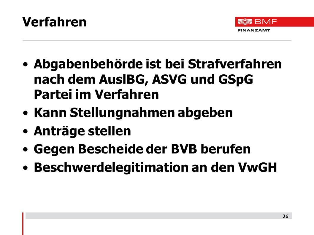 Verfahren Abgabenbehörde ist bei Strafverfahren nach dem AuslBG, ASVG und GSpG Partei im Verfahren.