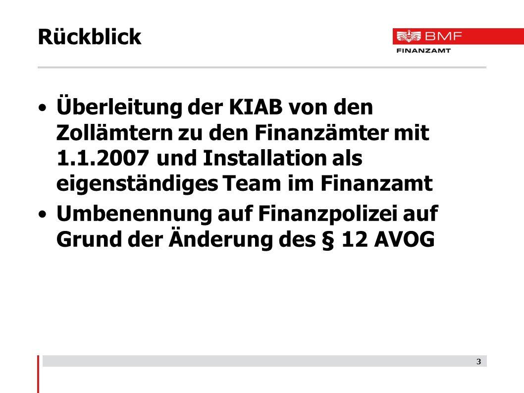Rückblick Überleitung der KIAB von den Zollämtern zu den Finanzämter mit 1.1.2007 und Installation als eigenständiges Team im Finanzamt.