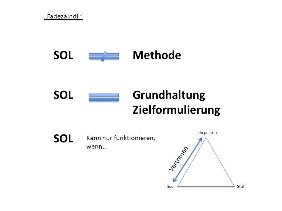 """SOL Methode SOL Grundhaltung Zielformulierung SOL """"Fadezäindli"""