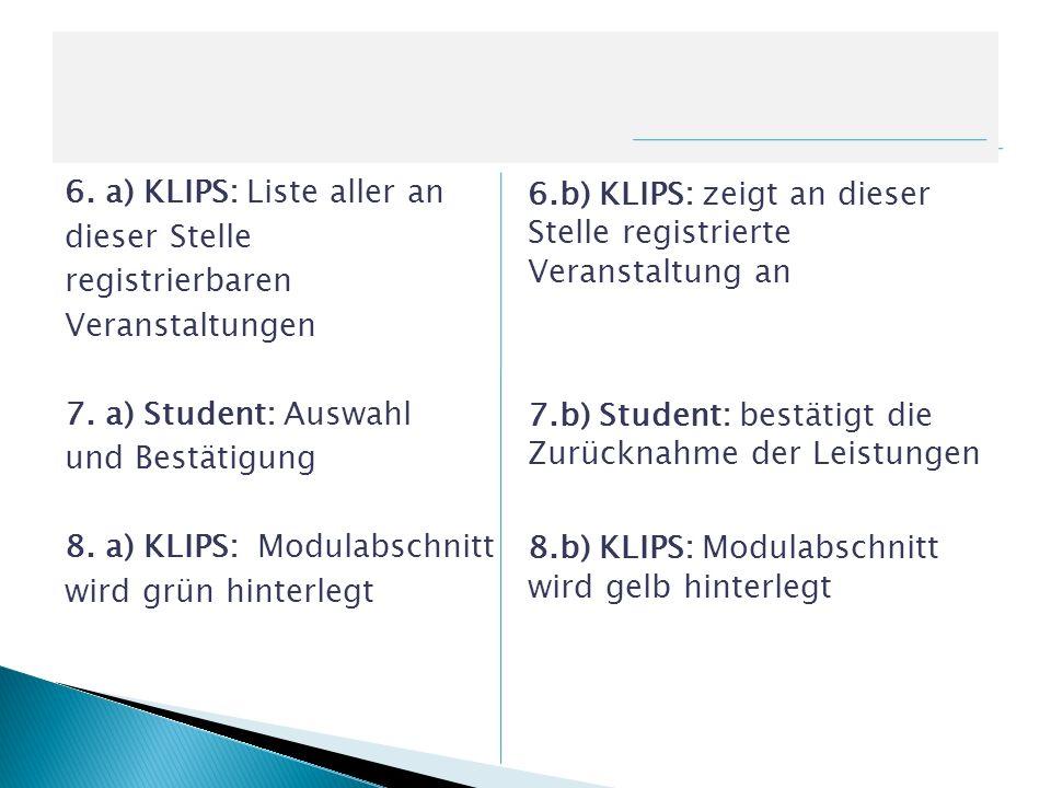 6. a) KLIPS: Liste aller an dieser Stelle registrierbaren Veranstaltungen 7. a) Student: Auswahl und Bestätigung 8. a) KLIPS: Modulabschnitt wird grün hinterlegt