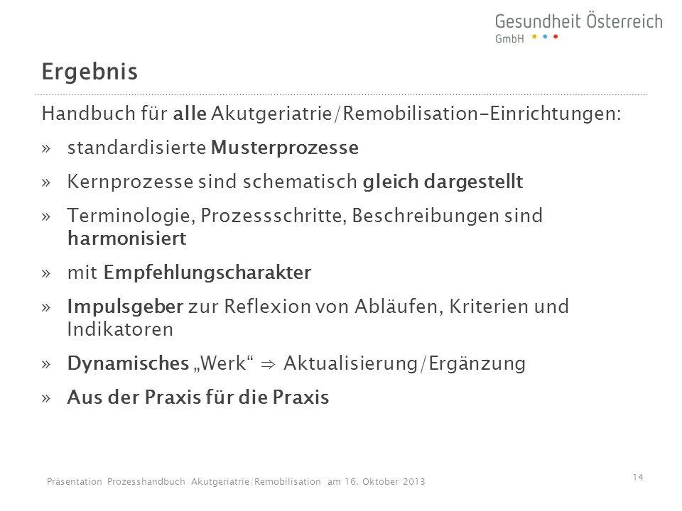 Ergebnis Handbuch für alle Akutgeriatrie/Remobilisation-Einrichtungen:
