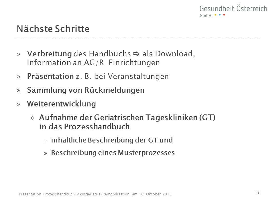 Nächste Schritte Verbreitung des Handbuchs  als Download, Information an AG/R-Einrichtungen. Präsentation z. B. bei Veranstaltungen.