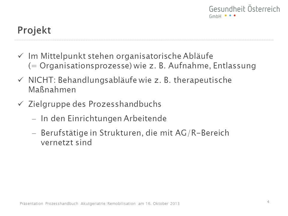 Projekt Im Mittelpunkt stehen organisatorische Abläufe (= Organisationsprozesse) wie z. B. Aufnahme, Entlassung.