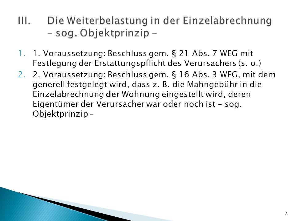 III. Die Weiterbelastung in der Einzelabrechnung. – sog