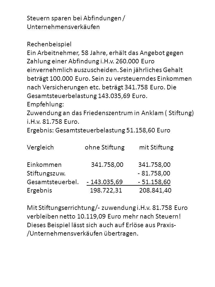 Steuern sparen bei Abfindungen / Unternehmensverkäufen