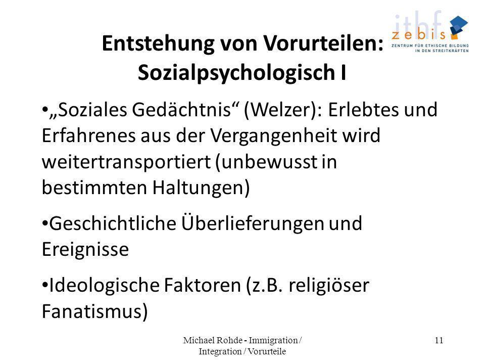 Entstehung von Vorurteilen: Sozialpsychologisch I