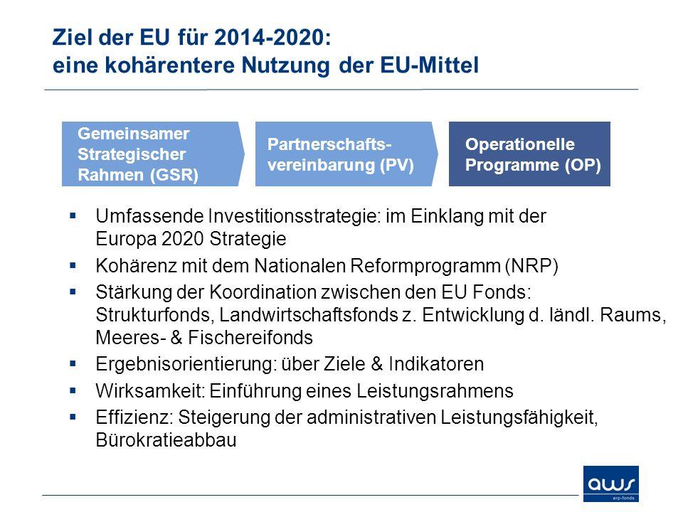 Ziel der EU für 2014-2020: eine kohärentere Nutzung der EU-Mittel