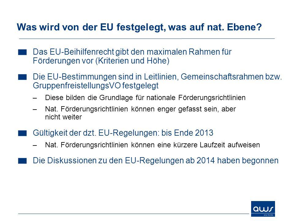 Was wird von der EU festgelegt, was auf nat. Ebene
