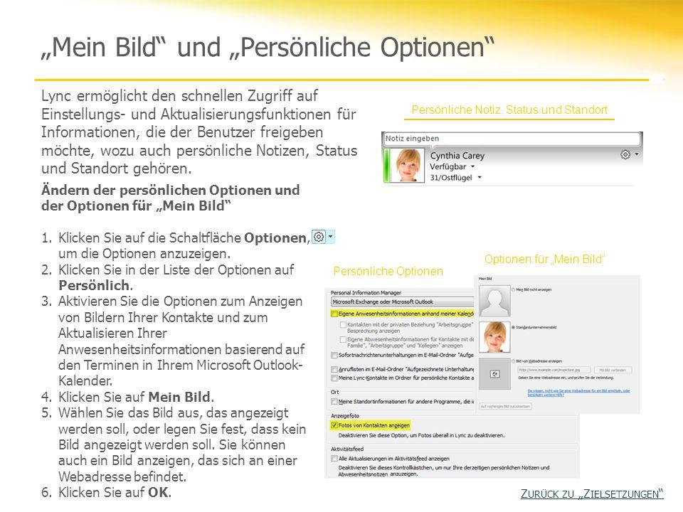 """""""Mein Bild und """"Persönliche Optionen"""