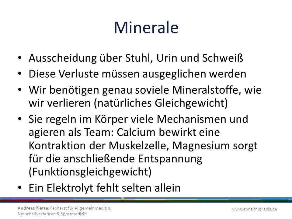 Minerale Ausscheidung über Stuhl, Urin und Schweiß
