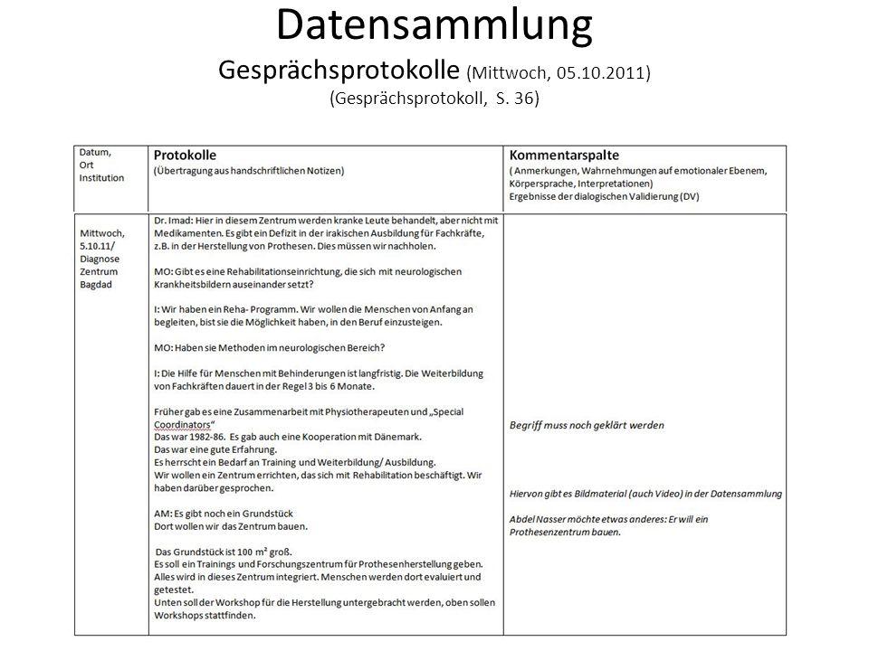 Datensammlung Gesprächsprotokolle (Mittwoch, 05. 10