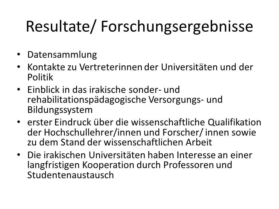 Resultate/ Forschungsergebnisse