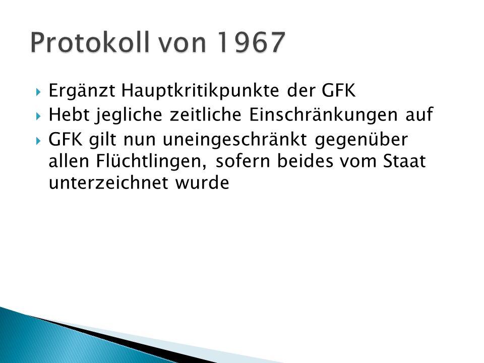 Protokoll von 1967 Ergänzt Hauptkritikpunkte der GFK