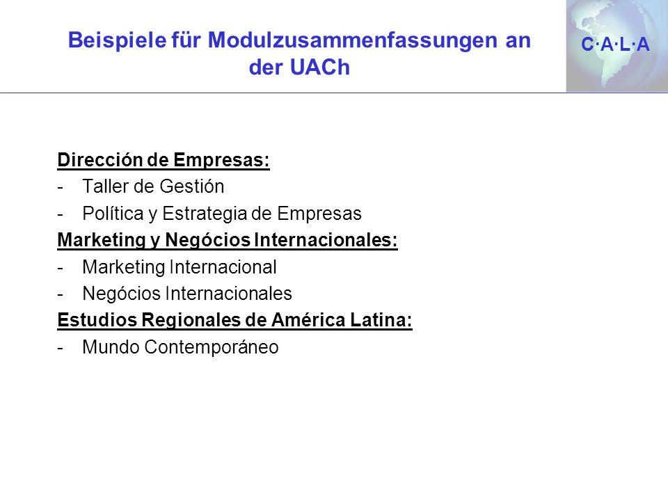 Beispiele für Modulzusammenfassungen an der UACh