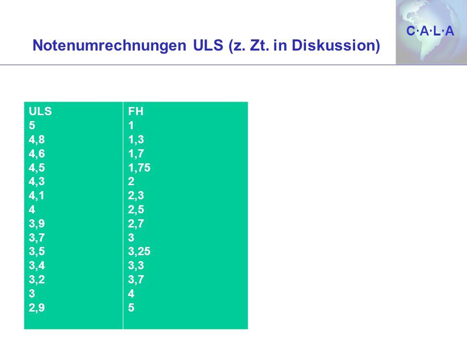 Notenumrechnungen ULS (z. Zt. in Diskussion)