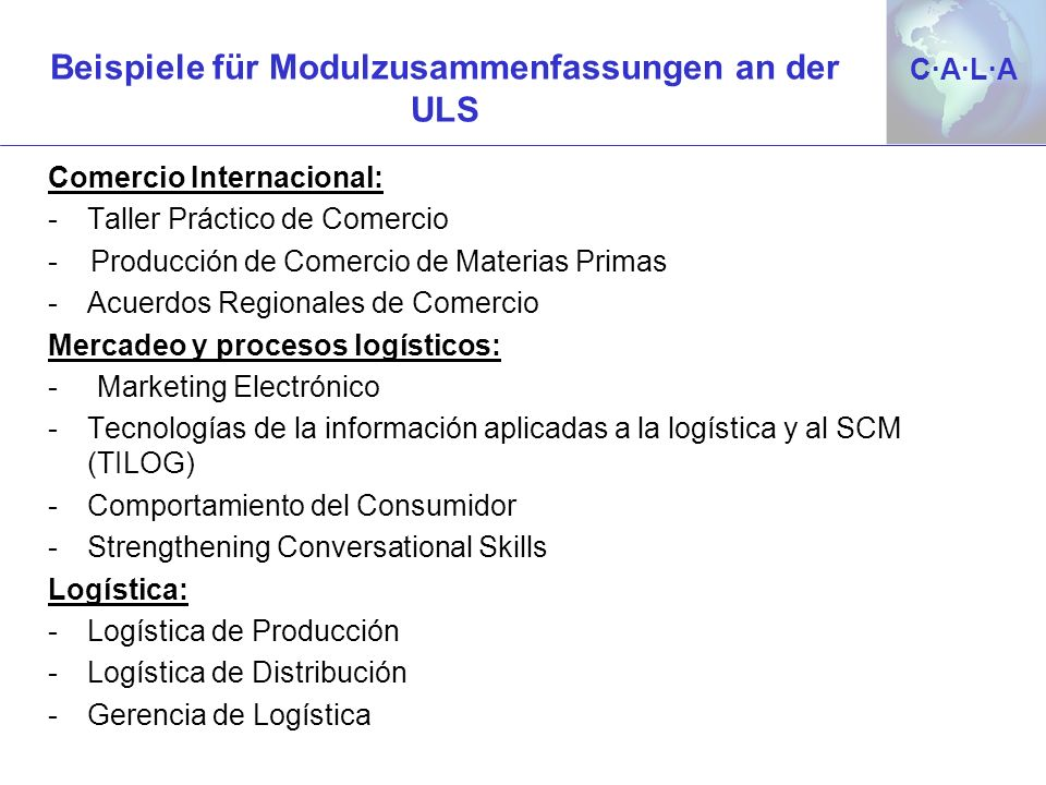 Beispiele für Modulzusammenfassungen an der ULS