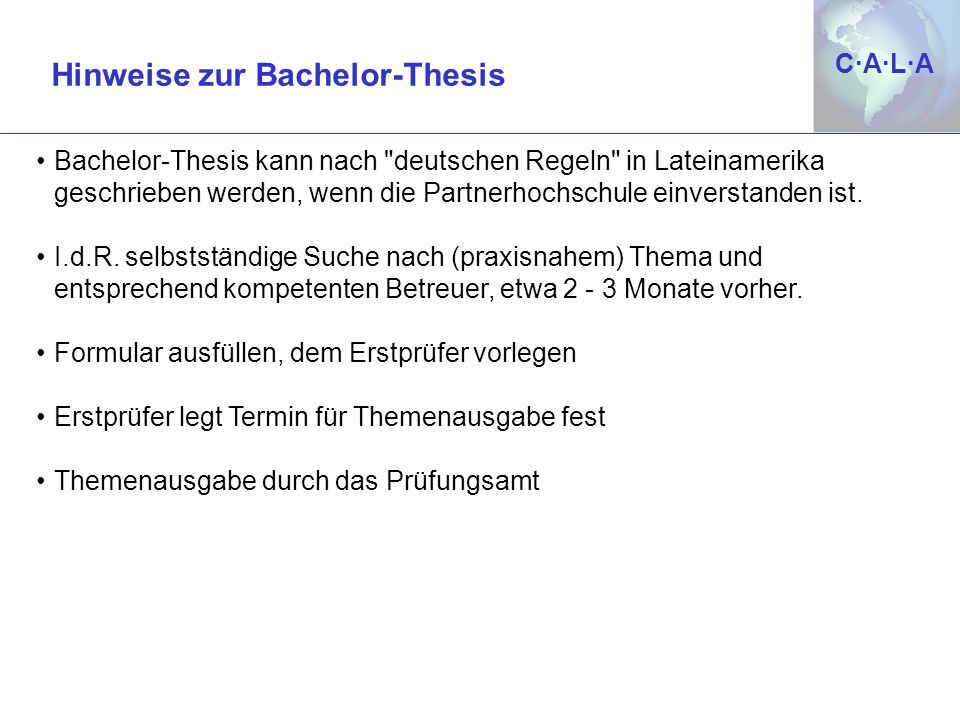 Hinweise zur Bachelor-Thesis