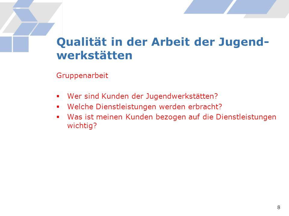 Qualität in der Arbeit der Jugend-werkstätten