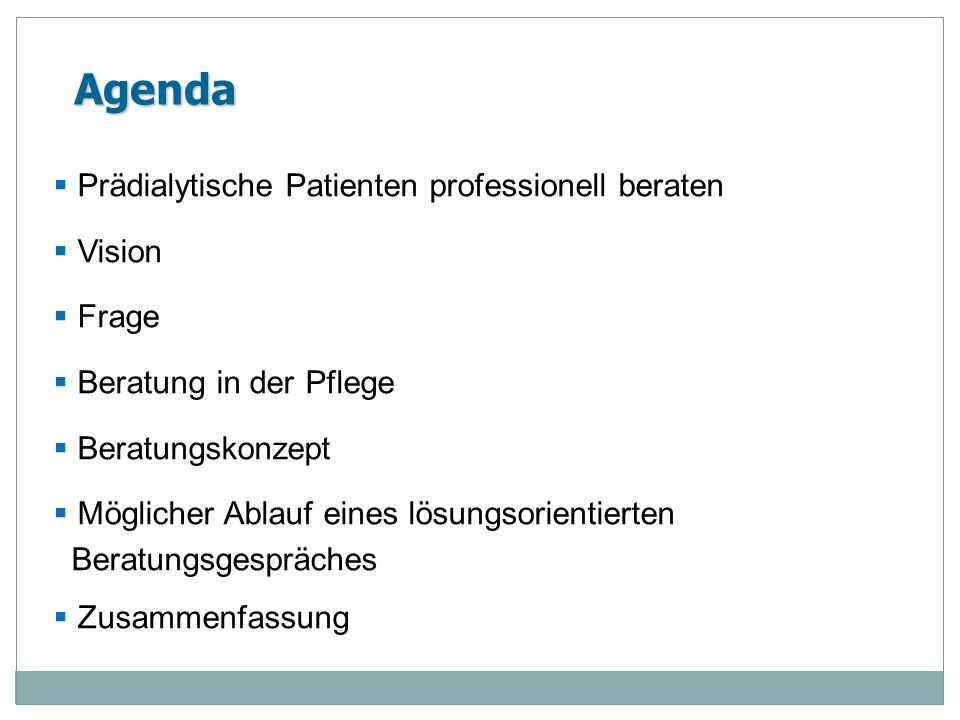 Agenda Prädialytische Patienten professionell beraten Vision Frage