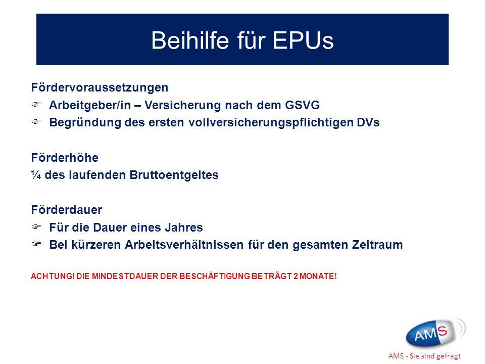 Beihilfe für EPUs Fördervoraussetzungen
