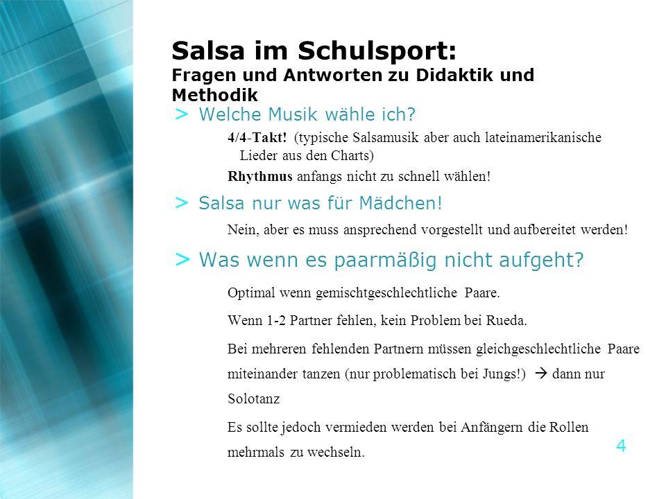 Salsa im Schulsport: Fragen und Antworten zu Didaktik und Methodik