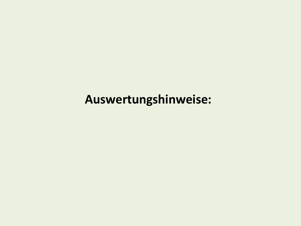 Auswertungshinweise: